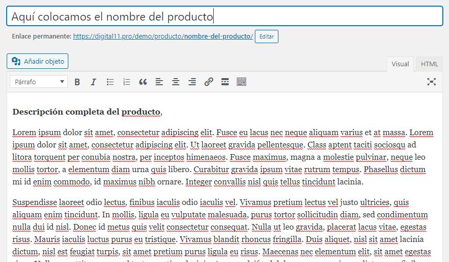 Nombre y Descripción de un Nuevo Producto