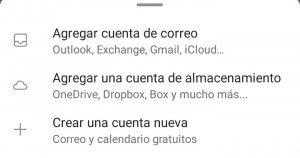 Opciones para agregar cuenta de correo en Outlook