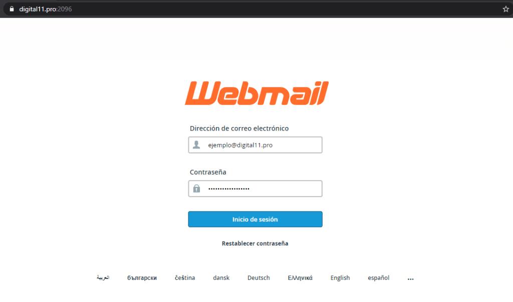 Página de inicio, Webmail, Digital 11